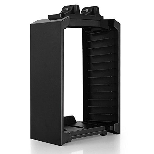 TNP PS4 Ständer + Controller Ladegerät + Game Storage Organizer - vertikale Dock-Ladestation für DualShock Controller, Bluray Game Case Storage Holder Tower 4 in 1 Zubehör [Playstation 4]