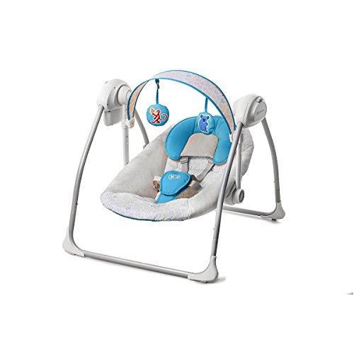 Kinderkraft Nani Babywippe Schaukelsitz Babyschaukel Wippe Schaukel Babysitz (Blau)