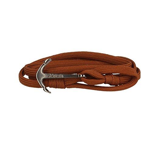 7details Premium Anker Armband für Herren und Damen in Cognac Braun Made in Spain, Farbe:Gunmetal Grey (Cognac Cog)