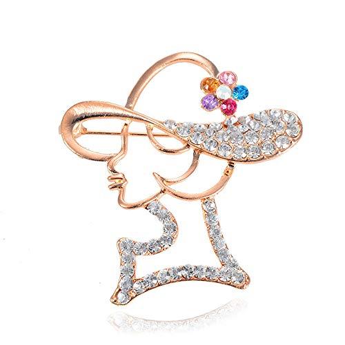 Kostüm Pin Head - Ningz0l Brosche Europa Und Amerika Wilde Dame Beauty Head Cap Mit Diamant Brosche Damenbekleidung Brosche Zubehör 4,5 cm * 5 cm