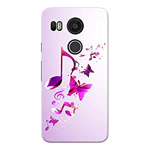 INKIF Music and Butterflies Abstarct Designer Case Printed Mobile Back Cover for Google Nexus 5X(Pink )