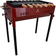 H Hy-tec (Device) Iron Grill Barbeque with 7 Skewers and Wooden Handle Briquette Oven Toaster (Wine)