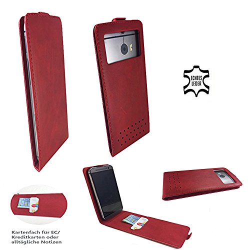 Handy Hülle für - Acer Liquid Zest 3G - High Quality Echtleder Flip Tasche mit Kreditkartenfach - Flip Nano M Leder Rot
