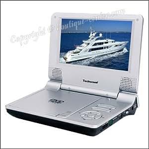 """TECHWOOD - Lecteur DVD DIVX portable LCD 7"""" 17,8 cm"""