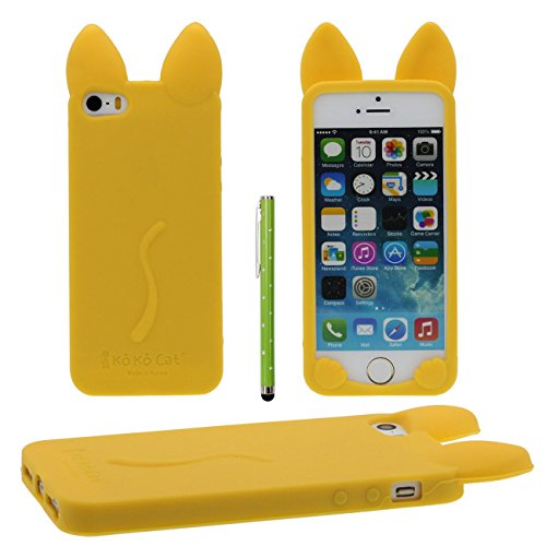 iPhone SE 5S Coque de protection Case Joli Couleur Charmant 3D Animal Chat Forme Fine Poids léger Doux Silicone Étui pour Apple iPhone 5 5S 5C / iPhone SE X 1 stylet jaune