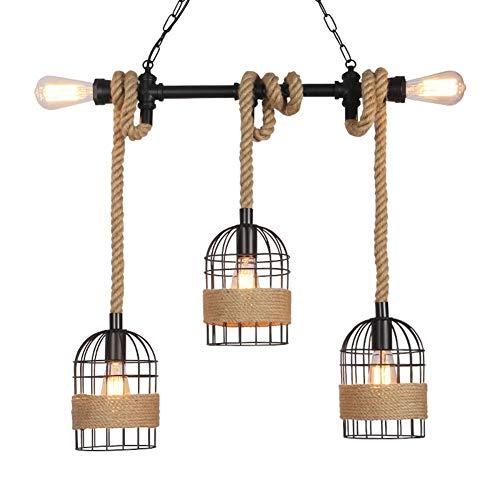 WHQ Kronleuchter - Hanf Kronleuchter Loft Retro Industrie Style Restaurant Bar Café Kreative Vogelkäfig Bar Fenster Laden Dekoration-Lampe QD (Size : H)