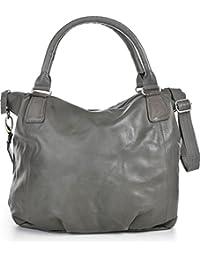 COWBOYSBAG, cuir, femmess, cabas, sacs à main, sacs en cuir, aspect vintage, sac à main, sac bandoulière, cuir, gris, 41 x 33 x 13 cm (L x H x P)