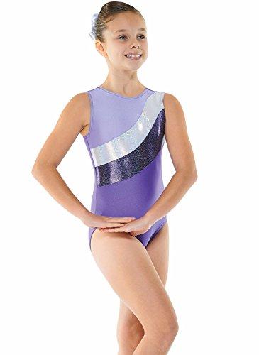 Body smanicato in Lycra, da ginnastica, per bambine, con 2 strisce laminate...