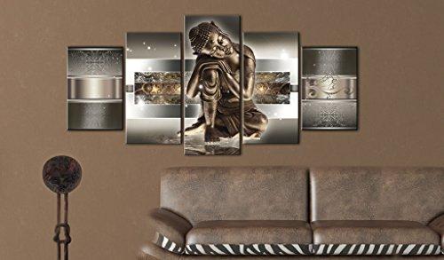 Bilder 200×100 cm – 3 Farben zur Auswahl ! XXL Format! Fertig Aufgespannt TOP Vlies Leinwand – 5 Teilig – Buddha Wand Bild Bilder Kunstdrucke Wandbild 020113-289 200×100 cm B&D XXL - 2