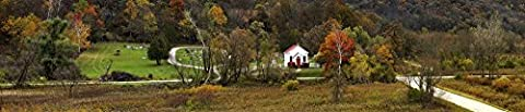 Panoramic Images – View of the Hyde church and cemetery in autumn Hyde Iowa County Wisconsin USA Photo Print (68,58 x 22,86 cm)