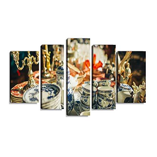 Inbel Kunst Flohmarkt Market Wandbilder abstrakt Leinwandbild Digitalkunstdruck leinwanddrucke Eigenes Design Gemälde Wanddekoration mit Holzrahmen 5-teilig