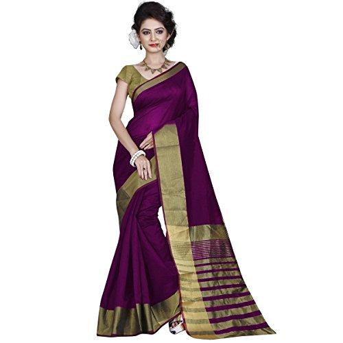 RadadiyaTRD Cotton Silk Saree With Blouse Piece (Pallu Magenta_Purple_Free Size)