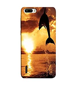Fuson Jumping Dolphine theme Designer Back Case Cover forHuawei Honor 6-3DQ-1100