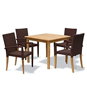 413s3G7lhqL. SS300  - Seville Garden Furniture Set - Square Teak Table and 4 Rattan Stacking Chairs - Java Brown - Jati Brand, Quality & Value