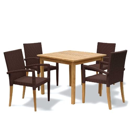 Jati Seville Garden Furniture Set – Square Teak Table and 4 Rattan Stacking Chairs – Java Brown Brand, Quality & Value