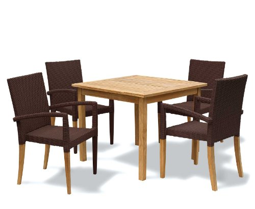 Seville Garden Furniture Set Square Teak Table And Rattan - Teak table and 4 chairs
