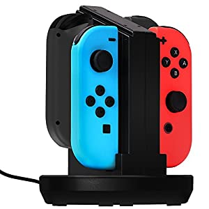 Jirvyuk 4 in 1 Ladegerät Nintendo Switch Controller Joy-Con Lade Dock