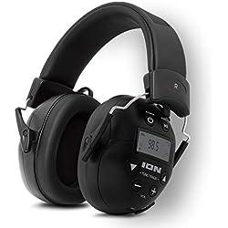 ION Audio Tough Sounds 2 Casque Audio Bluetooth sur Batterie à Réduction de Bruit, Protection Auditive, Appels en Mains Libres et Radio AM/FM