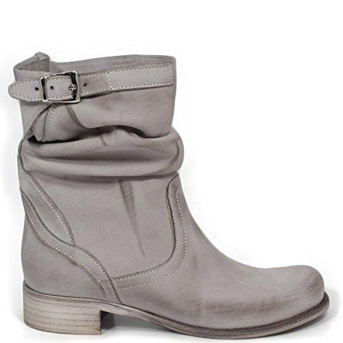 Stivaletti Estivi Biker Boots Bassi Donna In Time 0197 Grigio in Vera Pelle Made in Italy