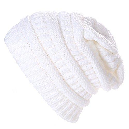 Kangqifen Damen und Herren Slouch Beanie Mütze Warme Strickmütze Skimütze Winter Mütze(Weiß) (Mütze Quiksilver-gefütterte)