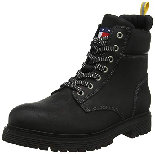 Tommy Hilfiger Tommy Jeans Outdoor Sued Boot, Botas Clasicas para Hombre, NegroMagnet 008, 42 EU