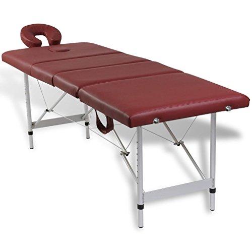 Vidaxl lettino pieghevole massaggio benessere rosso 4 zone con telaio alluminio