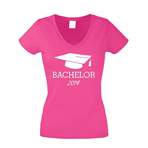 Damen V-Neck T-Shirt Abschluss BACHELOR 2014 weiss-schwarz