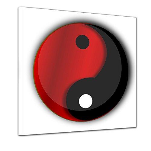 Bilderdepot24 Kunstdruck - Ying Yang - Bild auf Leinwand 40 x 40 cm - Leinwandbilder - Bilder als Leinwanddruck - Wandbild Geist & Seele - Asien - Buddhismus - Zeichen in Schwarz und Rot