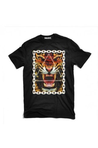 Magic custom - tshirt tiger chains Noir