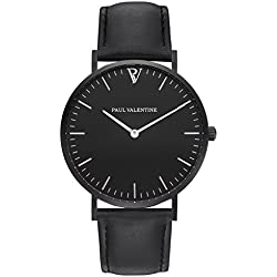 Paul Valentine Bracelet Watch | Feliz Black Leather | with Elegant and timeless design and Italian Real Leather Bracelet