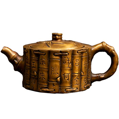 Fashion158 Ming and Qing Dynasty Antike Court Kupfertopf Teekanne Flachmann Reines Kupfer geprägt Drachenmuster alte Patina Collection -