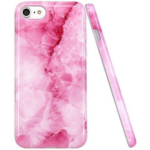 iPhone 7 Hülle, JIAXIUFEN Rosa Pink Marmor Serie Flexible TPU Silikon Schutz Handy Hülle Handytasche HandyHülle Etui Schale Case Cover Tasche Schutzhülle für iPhone