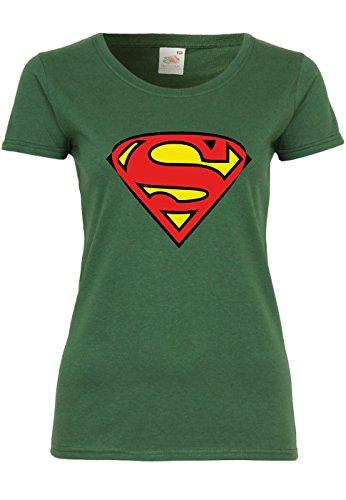 METRA M91 F288N Damen T-Shirt mit Motiv Superman, Größe:XL, Farbe:Bottle Green