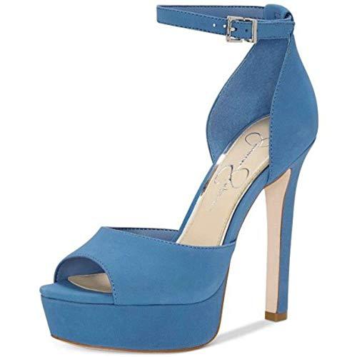 Jessica Simpson Frauen Peep Toe Knoechel Riemen Leder D-Orsay Pumps Blau Groesse 10 US /41.5 EU - Jessica Simpson Peep Toe