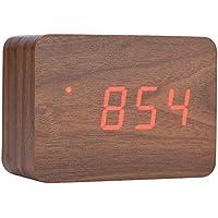 Richer-R Reloj Despertador de Madera Digital Despertador Rectangular Multifuncion,Función de Luces LED/Indicador de Temperatura /3 Alarma,Control de Sonido(Marrón)