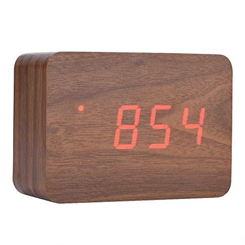 Eboxer Hölzerne elektronische Digitalwecker-Temperatur-LED-Anzeige klingt Steuerung für Wohnzimmer, Schlafzimmer, Küche usw.(braun) -