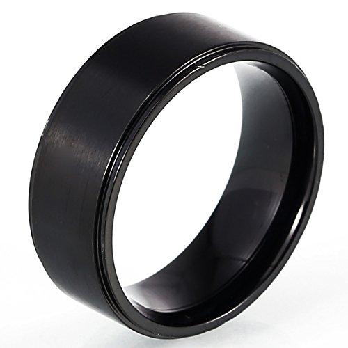 DonDon Herren Ring Edelstahl schwarz – 62 (19.7)