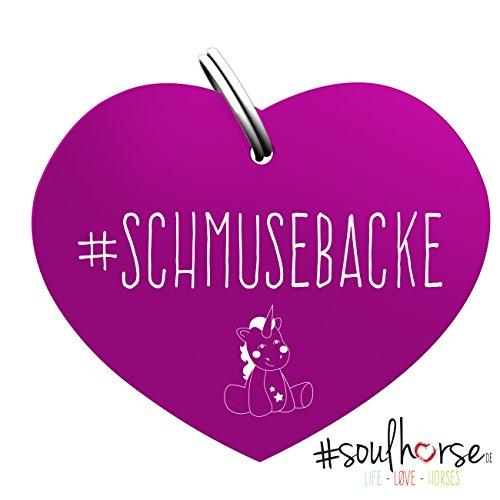 Soulhorse Schmusebacke Pferde Glücksmarke in lila Halfter, Trense und Zaumzeug