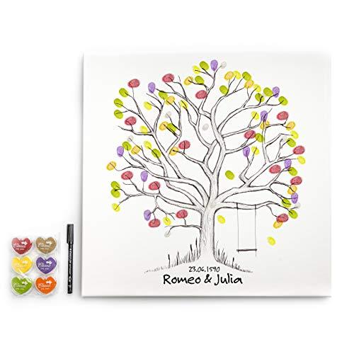 codiarts. Leinwandbild Gästebuch mit Stempelkissen, Leinwand aus Baumwolle/Polyester, Keilrahmen aus Fichtenholz, 50 x 50 cm