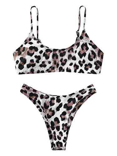 SOLY HUX Mujer Conjunto De Bikini de Leopardo,+2 PCS Traje de Baño 2019 Verano Sexy
