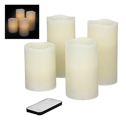 ECD Germany 4-er Set LED-Kerzen mit Fernbedienung aus Echtwachs mit flackernder Flamme 1x 7,5x10cm 1x 7,5x12,5cm 2x 7,5x15cm