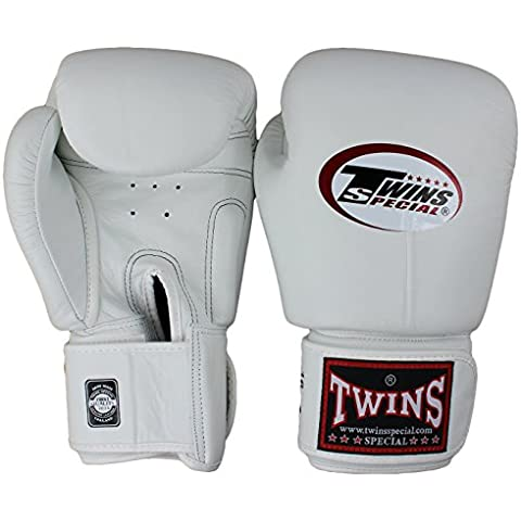 Gemelos Especiales Guantes de Muay Thai BGVL-3 blanco 8 – 10 – 12 – 14 – 16 oz., color blanco, tamaño 39,8