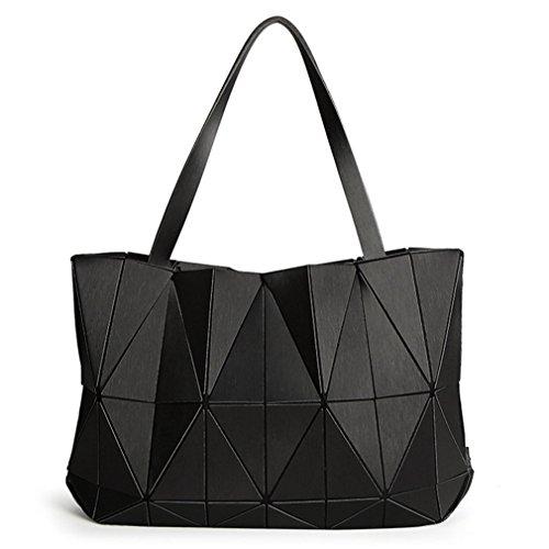 NEUE Frauen Matte Dreieck Laser Tasche Diamant Geometrie Gesteppte Handtasche Black (Diamant-gesteppte Handtasche)