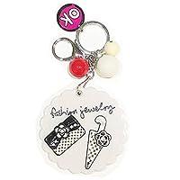 Happy Star® Girls Fashion Emoji Keyrings With Mirror And Bell Cute Novelty Key Chain
