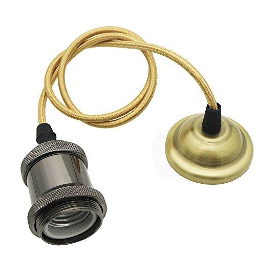 Mengjay Plafonnier Edison rétro vintage, 85 - 265 V, en aluminium noir perlé, douille pour ampoule E27, adaptateur Vintage Pearl black