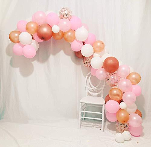 de Kit - 100 Rose Gold & Blush Rosa & weiße Latexballons Rotgold Konfetti Ballons und Ballonbogen & Girlande Streifenwerkzeug für Hochzeit Hawaii Graduation Birthday Party ()