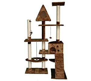 Deluxe Multi Level Cat Scratcher Cat Tree Activity Centre Scratching Post with 2 Caves Toys and Sleeping Area 200 Brown Faux Fur 106cm x 60cm x 180cm by KMS