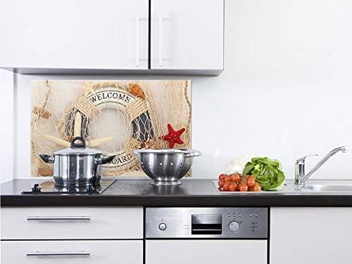 GRAZDesign Glasrückwand Küche Seestern - Rückwand Küche Meer - Küchen Spritzschutz Herd Rettungsring - Küchenrückwand Glas Maritim / 100x60cm / 200315_100x60_SP