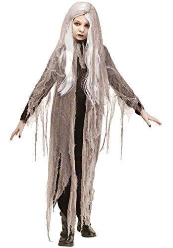 Kinder Mädchen Netzgewebe Zombie Geist mit Perücke Halloween Kostüm Kleid Outfit - grau, 6-8 (Kostüme Perücke Ghost)