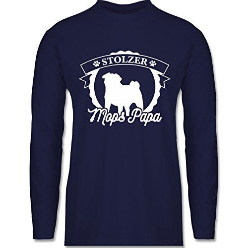 Shirtracer Hunde - Stolzer Mops Papa - Herren Langarmshirt Navy Blau